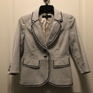 Nine West Black White Stripe Cropped Blazer 0P